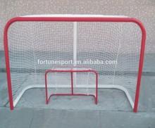 Red color steel hockey goal post with terylene net