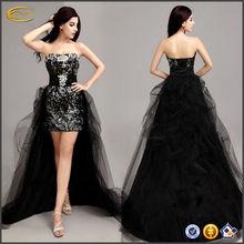 China OEM supplier Sexy New Black Satin Formal Prom Party Ball Bridesmaid Evening princess dress