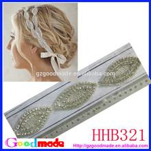 wholesale handmade luxury white ribbon crystal wedding bridal headpiece