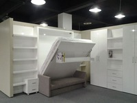 MDF new design double glossy white color murphy bed