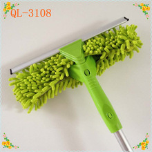 specially designed chenille aluminum handled window cleaning brush and rubber head