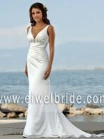 V neck beaded ruffled satin mermaid sexy low back beach wedding dress