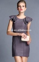 wholesales new design elegant women wedding party meeting dress with ruffles sleeves