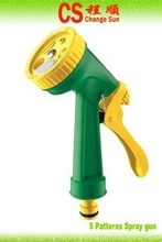Hot sell CS-1003 5functions plastic spray hose nozzle for garden and lawn water spray gun