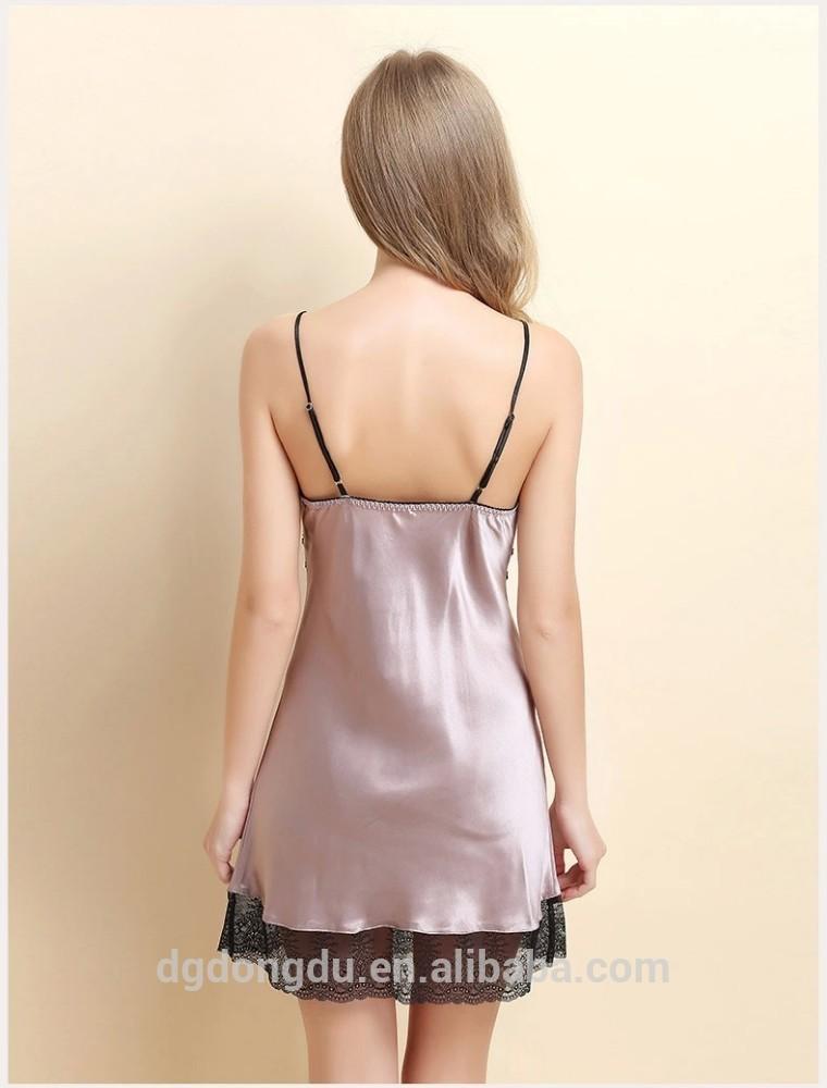 جديد أزياء السيدات قصيرة الدانتيل الحرير ثوب النوم مثير New_Fashion_Ladies_Short_Lace_Sexy_Silk