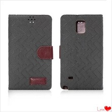 Eco-friendly PU Plaid Fabric and Cards Holster Phone Protective Case for Samsung Galaxy Note 4