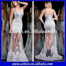 Ed-1032 , delicado y Sexy ver a través de noche vestidos vestido de noche de plata miami