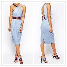 2015 New designs ladies/girls sexy party front dress with metallic belt WS00114