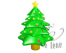 Customized pvc inflatable christmas tree with star indoor