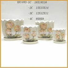 ceramic garden flower pots with saucer terracotta plant pot wholesale XH1483