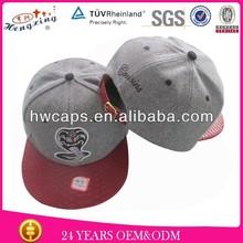 Custom made snakeskin wool snapback leather strap buckle hat