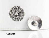 STOCK silver tone rose flower rhinestone snap button jewelry fit ginger leather bracelet NAC0289
