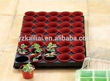 black plastic nursery flower pots