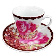 Ceramic brown coffee bean and pink rose pattern cup and saucer