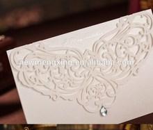 Beautiful Laser Cut Wedding Invitation Cards With diamond Decoration