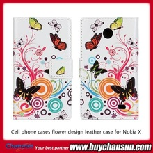 Cell phone cases flower design leather case for Nokia X