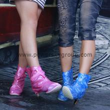 Beautiful Women Waterproof rain rubber shoe cover