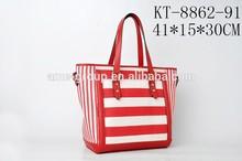 Fashionable Stylish Red Strip Pattern Canvas Ladies Handbag