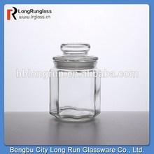 LongRun glass giftware food grade hexagonal candy jar for sale