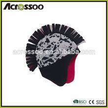 Fashion polyester polar fleece printed earflap hat, double layers micro fleece beanie hat with earflap