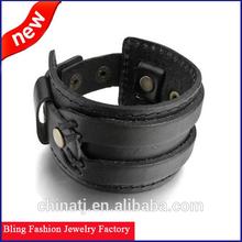 Latest Men's Alloy Genuine Leather Bracelet Bangle Cuff Black Punk Rock 2015