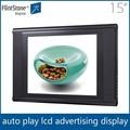 Picapiedra 15 pulgadas tft lcd de anuncios player, no- deje de jugar la publicidad de vídeo de pantalla, lcd panel de publicidad