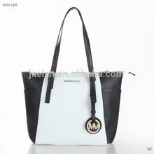 wholesale woman handbag trendy match color Top-Zip Saffiano PU Tote bag shoulder bags women bag for promotion