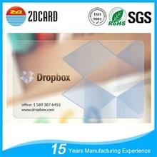 2015 Fashionable transparent pvc card manufacturer