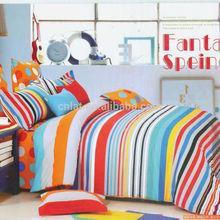 Reactive Design Wholesale 4pcs 3d Colorful Big Dot & Stripe Printed 100% Cotton Fancy Bedroom Sets
