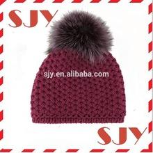 New winter fashion Fur Pompom handmade children winter hat