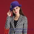 Sombrero elegante de fieltro y lana en rojo o púrpura para dama, Sombrero Derby de invierno para dama