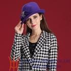 Elegant Red Or Purple Lady Wool Felt Hat Women Winter Derby Hat