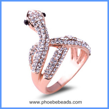 Wholesale Fake 18k Rose Gold And Silver Plated Alloy Rhinestone Pave Snake Ring Jewelry GR002
