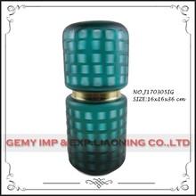 Atacado colorido corte de vidro alto barato vasos de vidro com metal de cobre