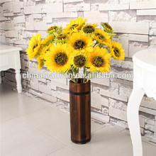 Handicraft decorative vintage large tall wooden daisy flower vase