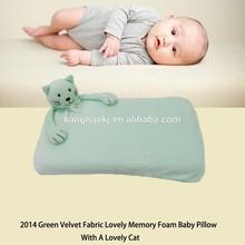 2014 Green Velvet Fabric Lovely Memory Foam Baby Pillow With A Lovely Cat