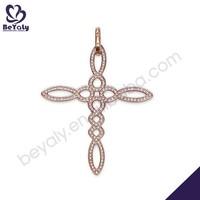 Hollow cz cross design light weight gold jewellery