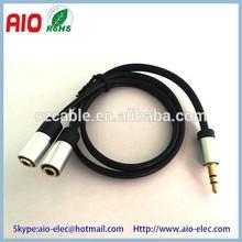 AL shell 3.5mm male plug P2 to 2-3.5 jack J2 mini trs audio adaptor cable