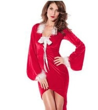 Z72961A Christmas Red Long-sleeved Velvet Tuxedo Skirt Women Dress