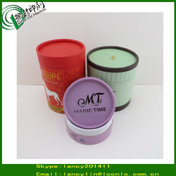 glossy lamination paper gift box round paper can with ribbon gift packaging design box