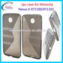 2015 new black rubber S TPU case for Motorola Nexus 6