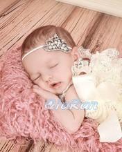 Crystal Pearl Baby Girl Crown Headband Newborn Infant Tiara Thin Headband Photo Props Princess Headband HB077
