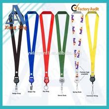 Polyester neck strap lanyard with badge reel holder