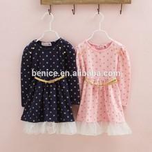 long sleeve cotton two colors golden princess girls dress polka dots