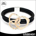 black cord magnetic clasp turkish gold bracelet