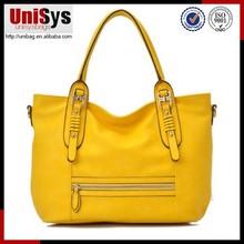 New design fashion leather ladies metal zipper yellow ladies tote leather bag