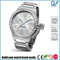 construir su marca de reloj hombre fácilmente 3 atm resistente al agua de acero inoxidable caja del reloj dial de la perla