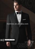 Customized Black One Button Satin Collar Mens Wedding Dress Groom Suits Ternos Novio (Jacket+Pants+Bow) WD002 Coat-Pant-Men-Suit