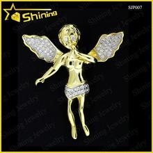 Men Ladies 10K Yellow Gold Mini Micro Angel Jesus Lab Diamond Piece Pendant Charm