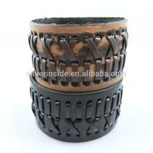Mens Wide Brown Leather Bracelet Genuine Leather Bangle Bracelet Wristband Interwoven Design